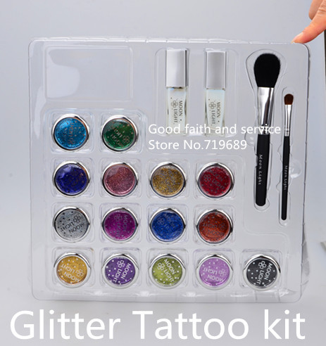 Free shipping Glitter Tattoo kit,15 colors with brushes/glue/stencil BALK15<br><br>Aliexpress