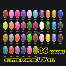 36 Glitter Colors UV Gel Nail Tips Pure Fine Shiny Cover French Manicure Set high quality beautiful lady gift free shipping