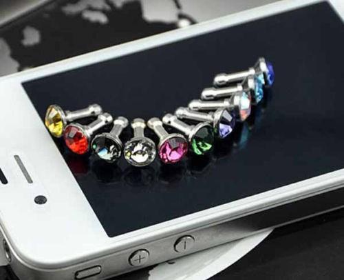 10PCS/LOT 3.5MM Diamond Rhinestone Anti Dust Plug Earphone Plug for iPhone 4 4s 5 5s 6 6s for Samsung Mobile Phone Accessories