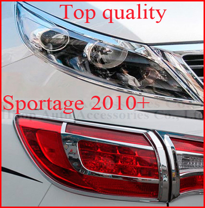 Kia Sportage headlight +tail light chrome cover trim, front+rear,total 4pcs, 2010-2014, top quality, ISO9001 authentication<br><br>Aliexpress