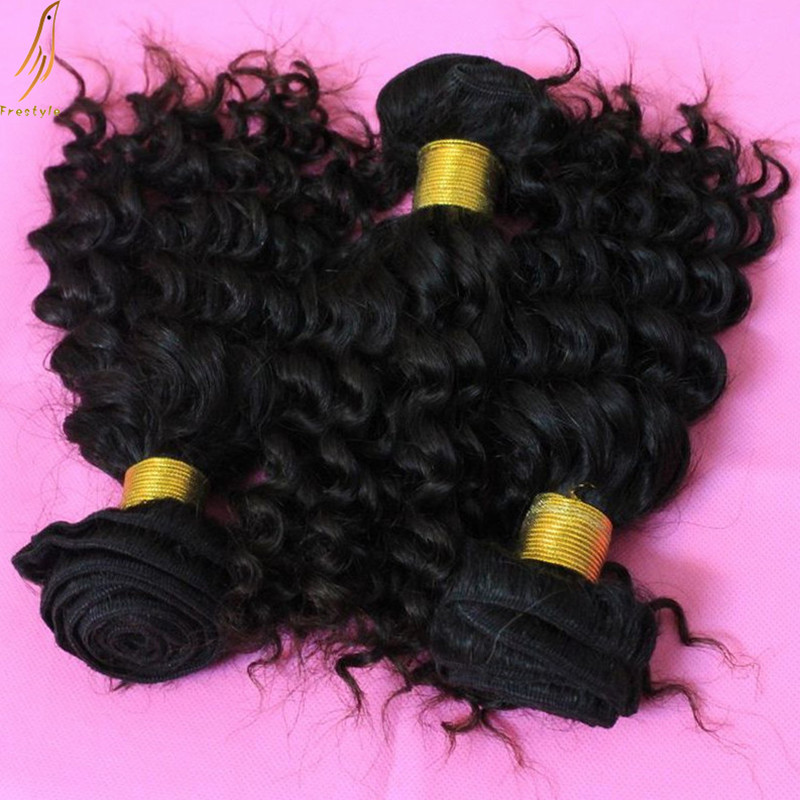 Mix lengths 4 bundles unprocessed 6A virgin remy Malaysian human natural deep wave afro fall curly hair extensions, - Frestyle (Factory price store)