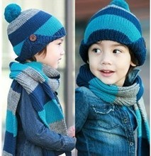 2colors Free shipping winter children hats+scarf sets baby pocket beanie boy earflap girl skullcap retail Lc13083002(China (Mainland))