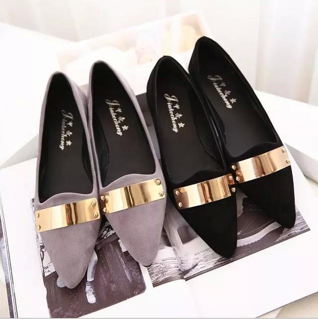 New 2015 Korean Fashion Women Shoes Classic Pointed Toe Glitter Metal Matte Flat Shoes Elegant Lady Work Shoes Black Gray(China (Mainland))