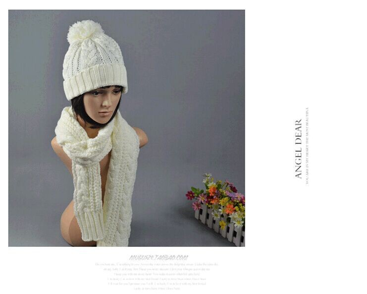New  Ladies Women Knitted Scarf And Hat Suite Set Winter Girl Knitting Scraves Cap warm (No gloves) Free shipping