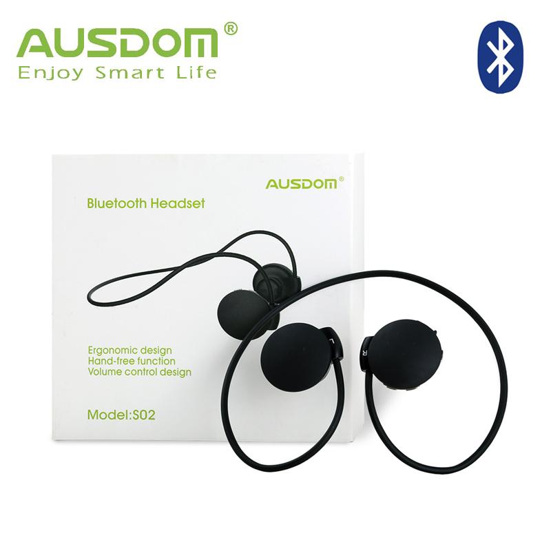 AUSDOM BLUETOOTH HEADSET S02 Headphone Wrap around wearable design Earphone + Wireless Bluetooth 3.0 Stereo Bass + Lightweight(China (Mainland))