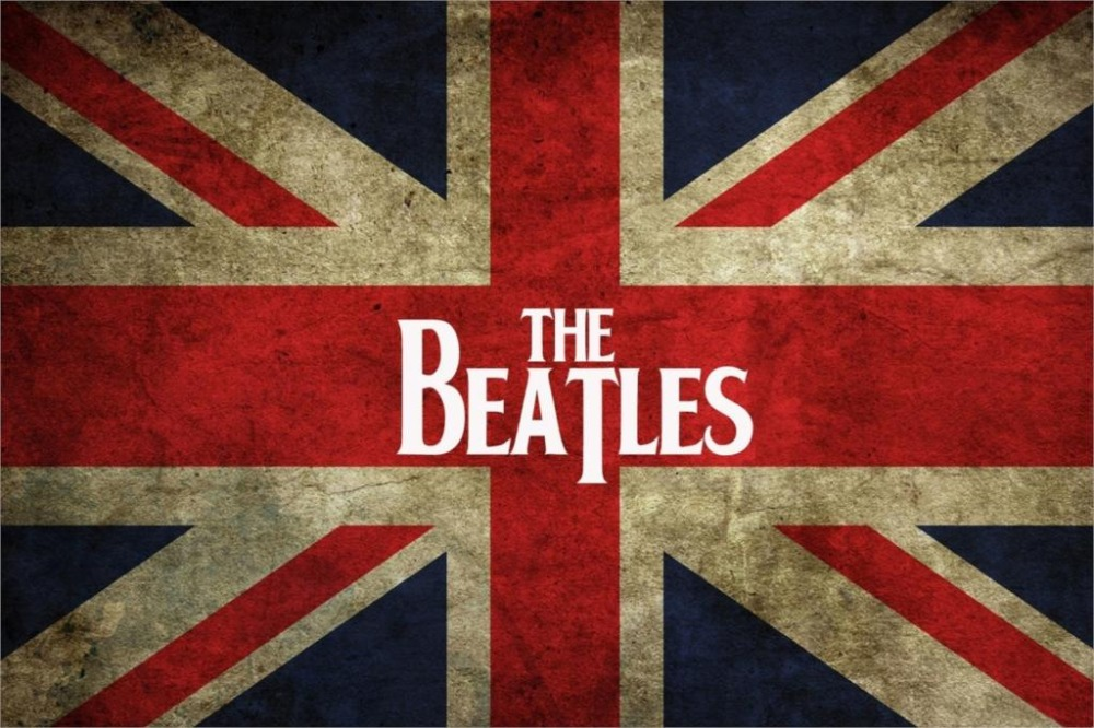 "United Kingdom Liverpool rock band The Beatles Flag logo fabric cloth Wall Art Silk poster 24""x36"" inch(China (Mainland))"