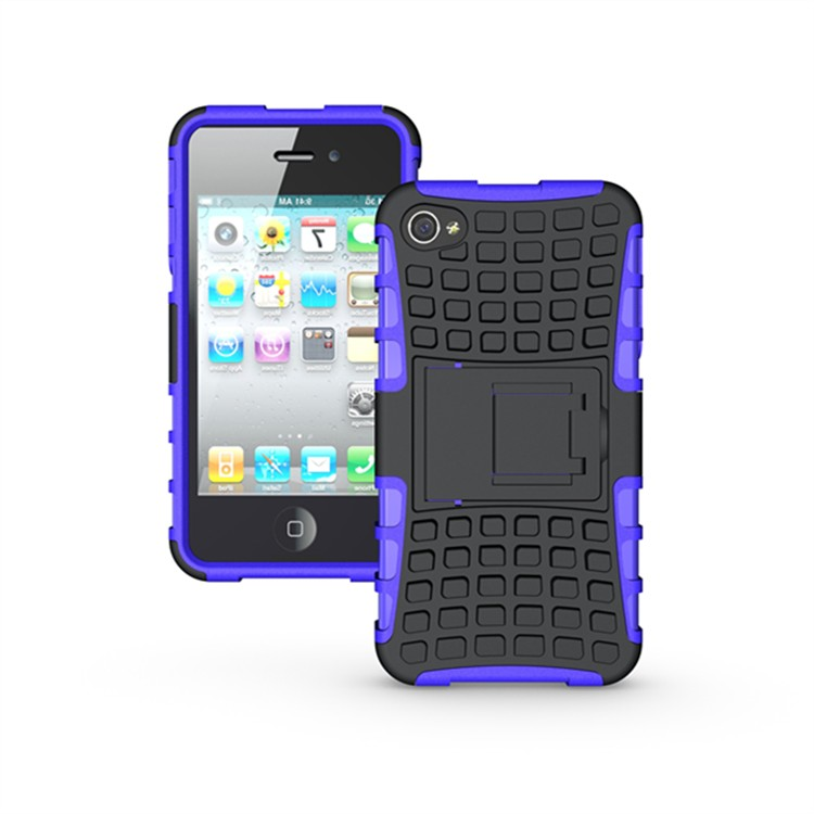 High Quality Luxury Dual Color Silicon Plastic Heavy Duty Armor Case For Apple iPhone 4 4S Hard Phone Back Cover Bag(China (Mainland))