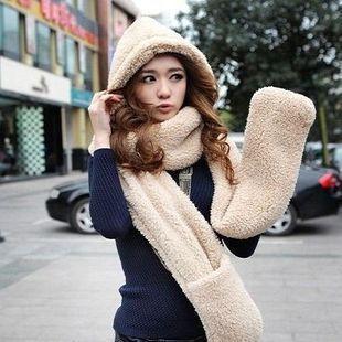 Толстый кашемир пара головные уборы перчатки один бутик теплая осень и зима с капюшоном шарфы
