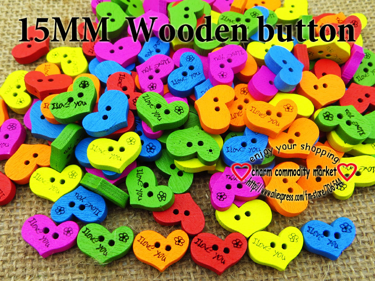 100PCS Heart painting colors wood cartoons buttons coat boots sewing clothes accessories WCB-087(China (Mainland))