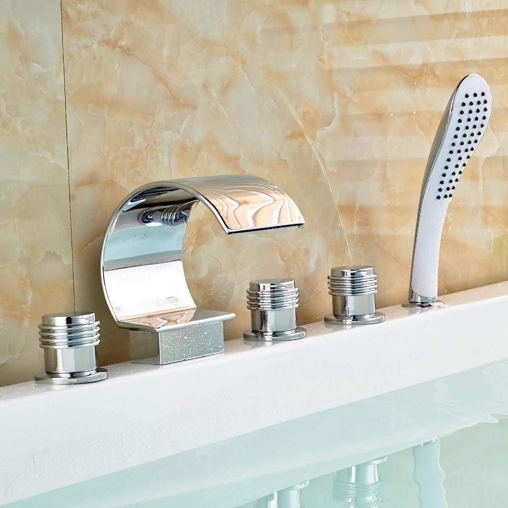 Купить Три Ручки Водопад Ванной кран Смесителя 5 шт. Палуба Гора Ванна Наполнитель ABS Pull Out Handshower