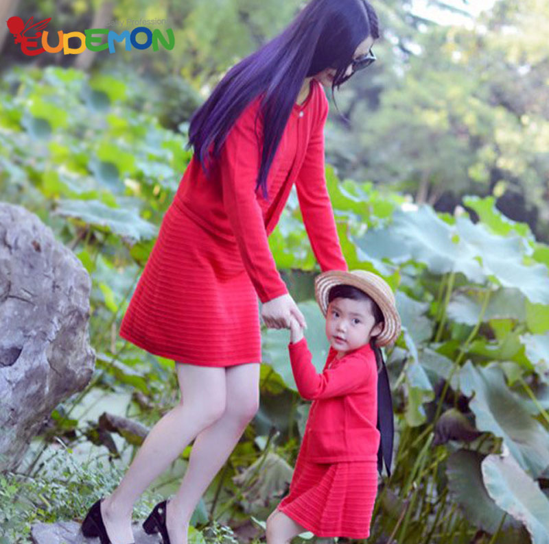 [Eudemon] Fashion Spring Autumn mother daughter dresses 2016 Cotton Red mother and daughter clothes family matching(China (Mainland))