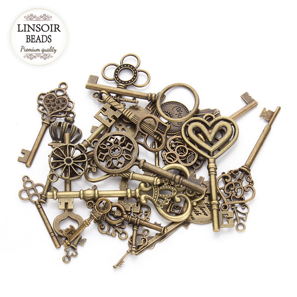 24pcs Mix Styles Antique Bronze Plated Heart Shaped Mini Key Charm Pendant Fit Vintage DIY Necklace Accessories Material F2631(China (Mainland))