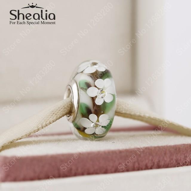 Весна 2015 новый цветок серебряные шарики с смешанные цвета муранского стекла & cz стерлингового серебра 925 SHEALIA ювелирные изделия MG043