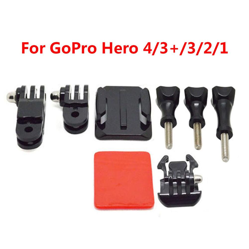 Gopro Adjustment Helmet 3 Way Adjustable Pivot Arms + Flat Base + Curved Mount + 3M Adhesive for Gopro Hero 4/3+/3/2/1 SJCAM(China (Mainland))