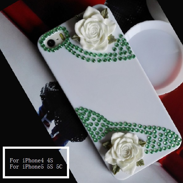 Sweet Luxury Rhinestone Skin For iPhone 5 5S 5C White Back Cover For Apple iPhone4 4S Brand Style Cell Phones Free Shipping(China (Mainland))
