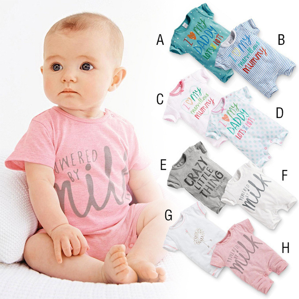 2016 Summer New Newborn Infant Baby Boys Girls Romper Clothes Short Sleeve Lovely Cotton Romper(China (Mainland))