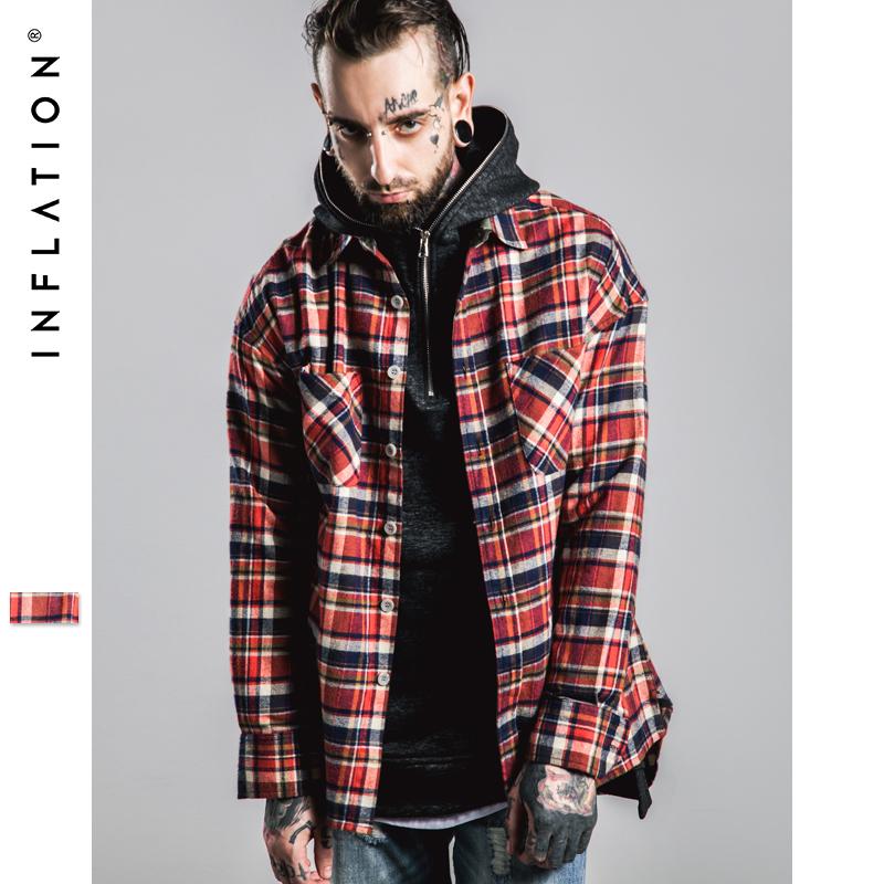 INFLATION Fear Of god long Sleeve Brushed font b Tartan b font casual shirt tyga hiphop