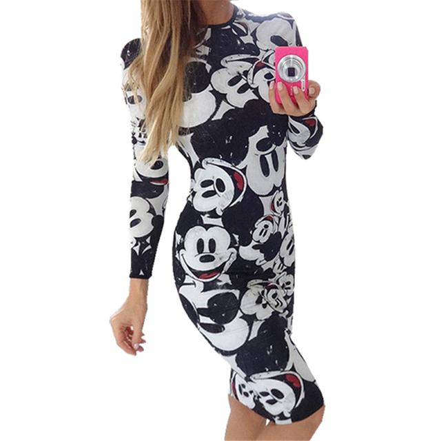 Gagaopt 2016 летние платья женщин печать мультфильм сексуальное платье горб старинные Harajuku вечерние Minie мыши Vestidos одежды