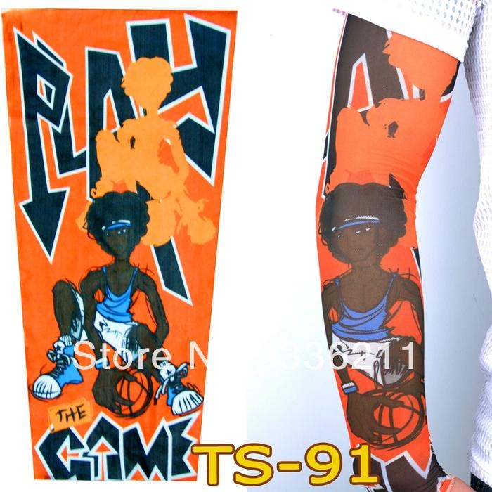 TS-91 120styles elastic Fake tattoo sleeves Arm stockings 3D art designs Basketball Boys pattern tatoo men-women Free shipping(China (Mainland))