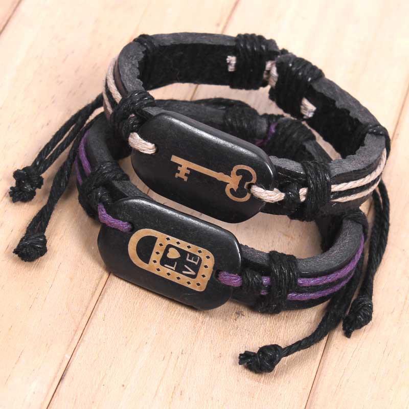 Lock key creative couples ox bone leather bracelet Valentine's day gift wholesale wholesale merchandise sourcing(China (Mainland))