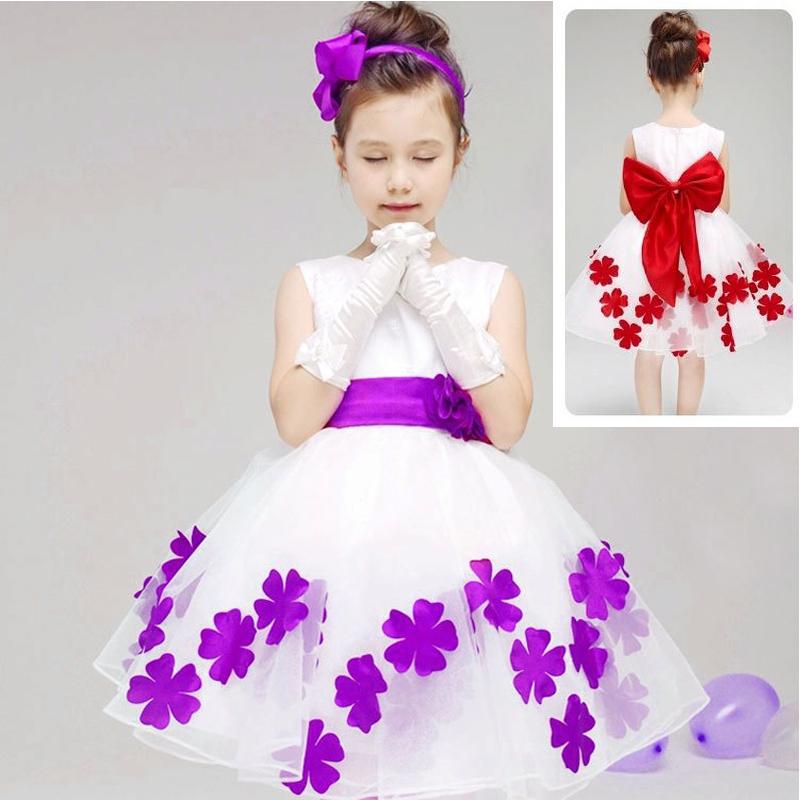 Elegant Baby Girls Birthday Gift White Flower Party Dress Cute Bow ...
