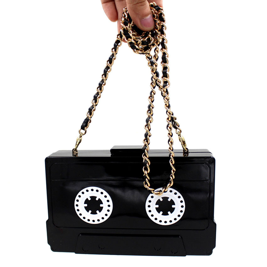 2015 Acrylic Personality Women Clutch Transparent Black Cassette Hold Evening Bags Chain Handbags Messenger Bags(China (Mainland))