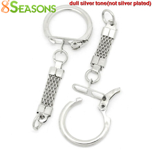8SEASONS Key Chains & Key Rings Silver Tone Color 6.2cm x 2.3cm,30PCs,KeyChains Length:3.8cm (B27327)(China (Mainland))