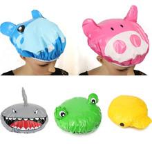 Best Price Cute Cartoon Animal Design Waterproof PVC Elastic Spa Shower Cap Hat Bath Hair Cover Protector Hats Bathroom Product(China (Mainland))
