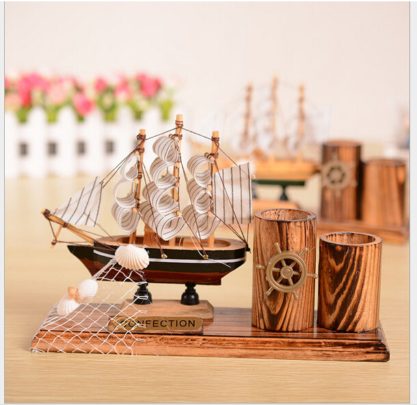 The Mediterranean pen container sailing Solid wood model sailboats Fashionable home furnishing Decoration(China (Mainland))