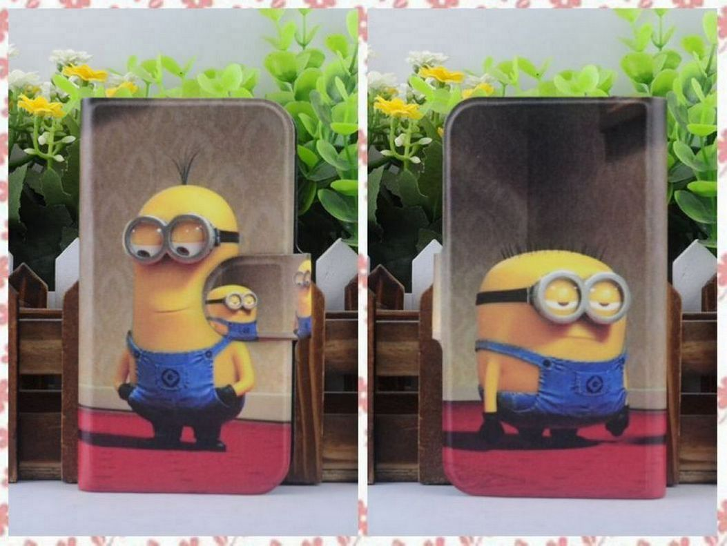 Hot 2015 BM11 Colorful Funny Cartoon Despicable Me PU Leather Flip Case Cover for OPPO Find Clover R815T(China (Mainland))