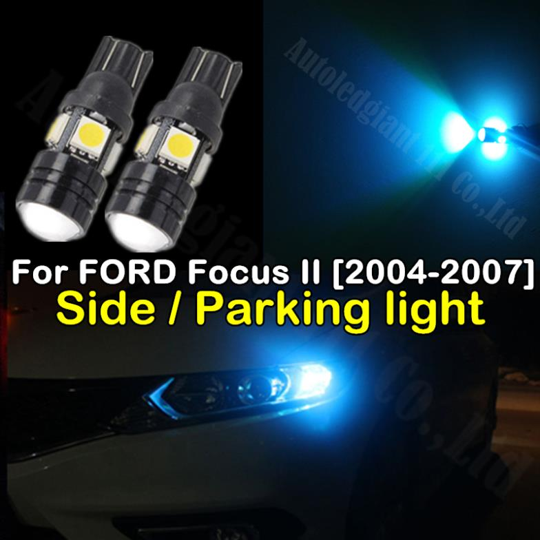 2pieces T10 Led W5W 5050 4 SMD + 1.5W COB 12V Car Lights For FORD Focus 2 2004 2005 2006 2007 External Lights Side Parking light(China (Mainland))