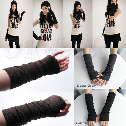 Multi Colors Long Soft Knit Arm Leg Women Fingerless Gloves Winter Mitten Warmer(China (Mainland))