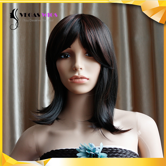 Vegaswigs Synthetic Wigs Short Hair Natural Wavy Black Wigs with Bangs for Africans Black Women Perruque Natural Hair Wigs(China (Mainland))