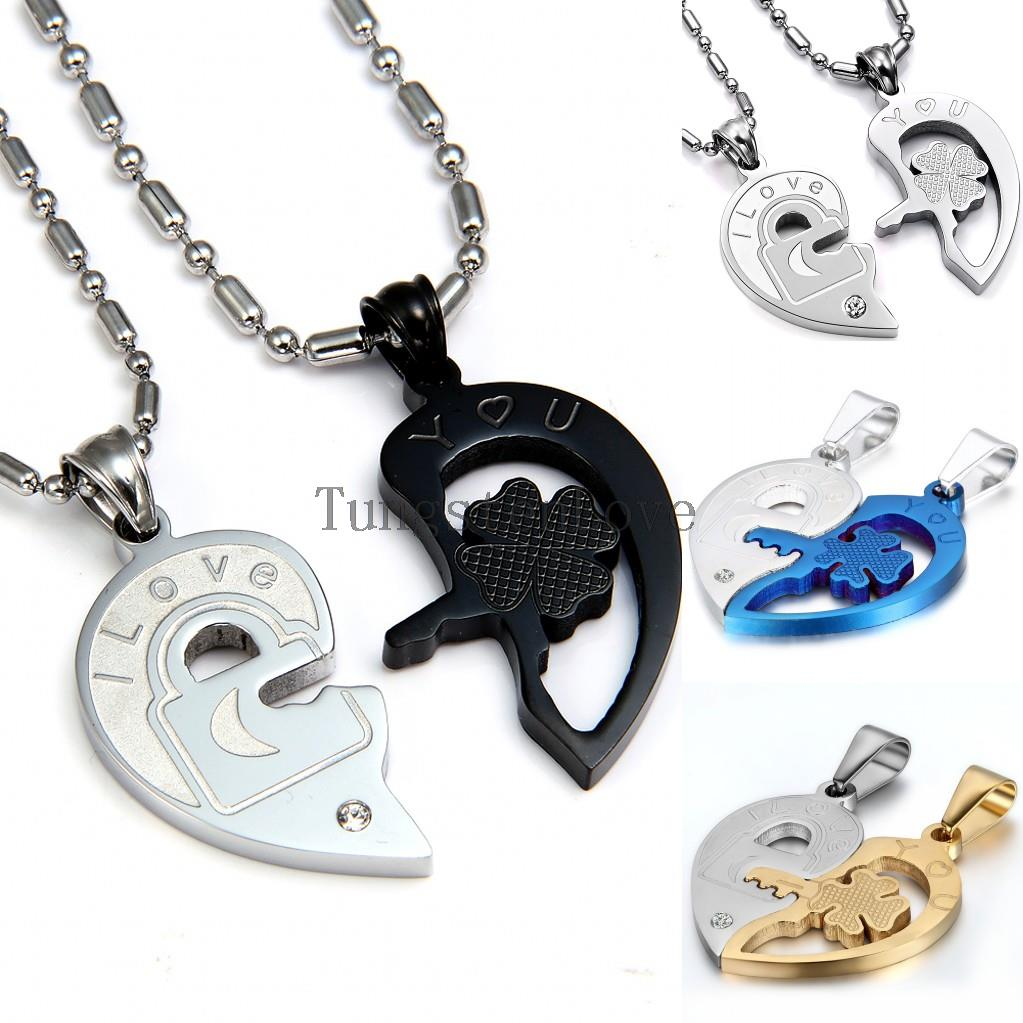 fashion valentine quotlove youquot lock and key couples necklace