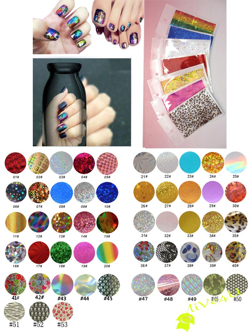 100Packs (53Designs) Transfer Foil Nail Polish Stickers 9*6cm/pack Free Shipping 4UNL15(China (Mainland))