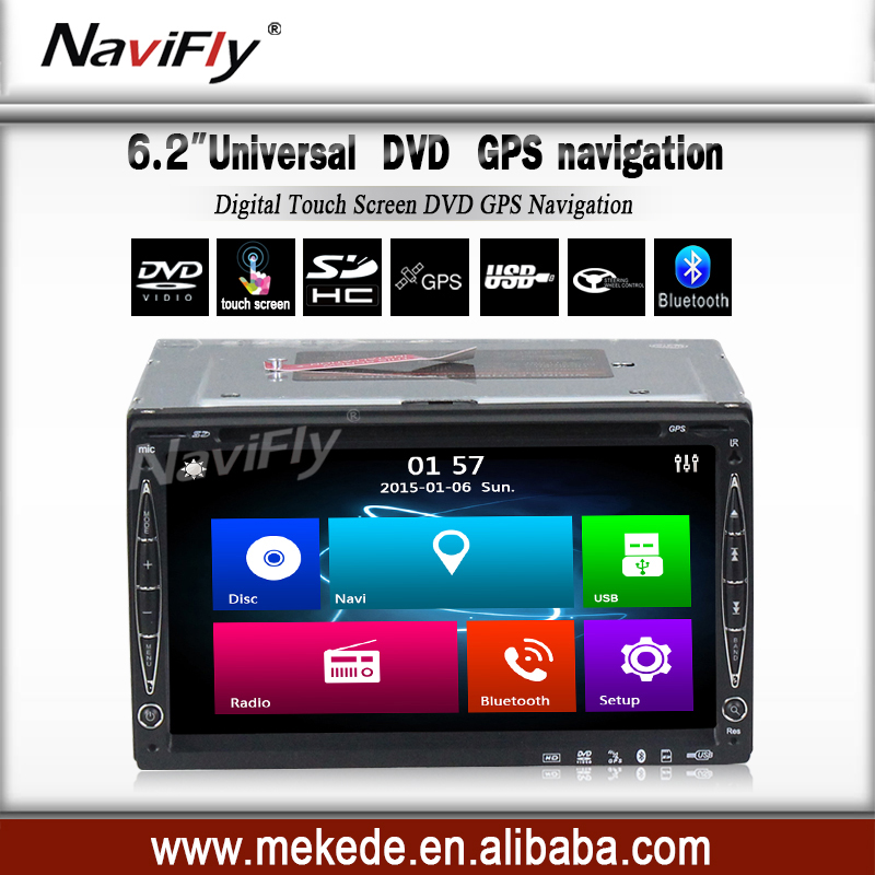 free shipping 6.2 inch 2 DIN GPS Navigation for Universal Car DVD Player In Dash Video Audio Auto Radio Bluetooth(China (Mainland))