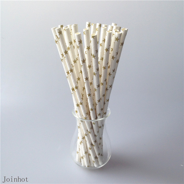 Free Shipping 25pcs Golden Star Design Paper Drinking Straws Creative Drinking Tubes Wedding Decorations Party Supplies(China (Mainland))