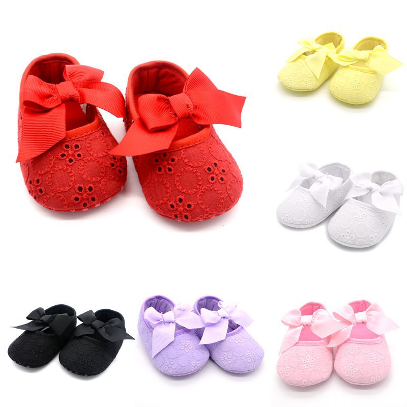 Infant Baby Girls Toddler Shoes Ribbon Bowknot Soft Bottom Shoes Kids Cotton White Flower Prewalker Free Shipping