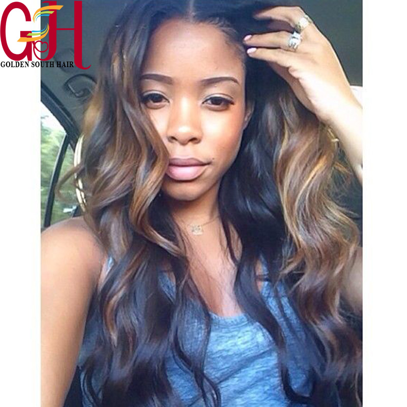 7A Brazilian Hair Body Wave Full Lace Human Hair Wigs Ombre Highlight 1b/30 Human Hair Lace Front Wig Black Women with Baby Hair(China (Mainland))