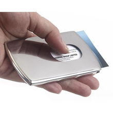 1 Piece Business Card Holder Women Vogue Thumb Slide Out Stainless Steel Pocket ID Credit Card Holder Case for Men Free Shipping(China (Mainland))