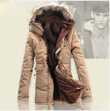 Men's winter jackets New 2014 Brand Fashion Long Down Jacket Men Solid Cotton-padded jackets warm Coat For Male Hooded Coats