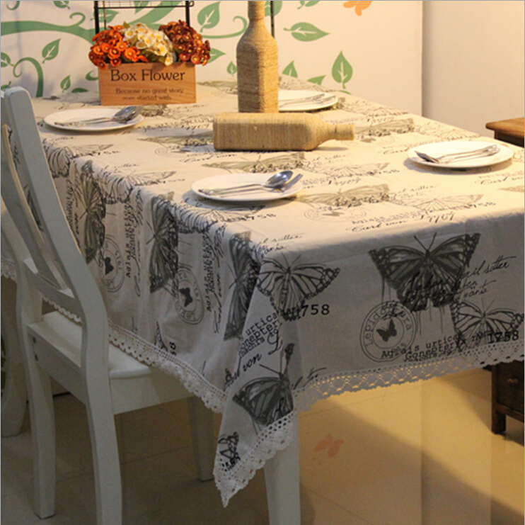 Free shipping beautiful butterfly nature series Table Cloth tablecloth Cotton & Linen table cover zakka High quality wholesale(China (Mainland))