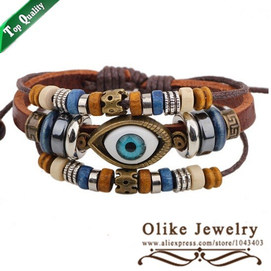 Clearance Sale 2015 Original Design Leather Wood Beeds Evil Eye Bracelet 12pcs/lot Free Shipping(China (Mainland))