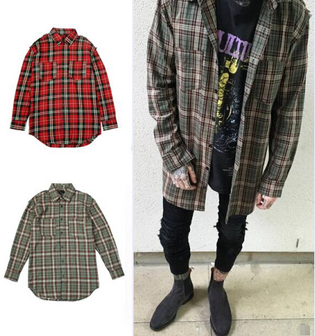 Streetwear punk font b tartan b font brand clothing men clothes korean extended green red checkered