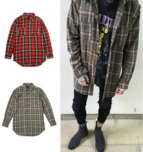 Streetwear punk tartan brand clothing men clothes korean extended green/red checkered plaid shirt dress new model shirts