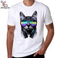 ZiLingLan Music DJ Cat Printed Short Sleeve Funny t shirt Men Funny T Shirts Round Neck