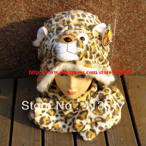 plush cartoon animal hat scarf gloves 3 combination Scarf, Hat & Glove Sets Plush animal Tiger / leopard / cat hat cap winter(China (Mainland))
