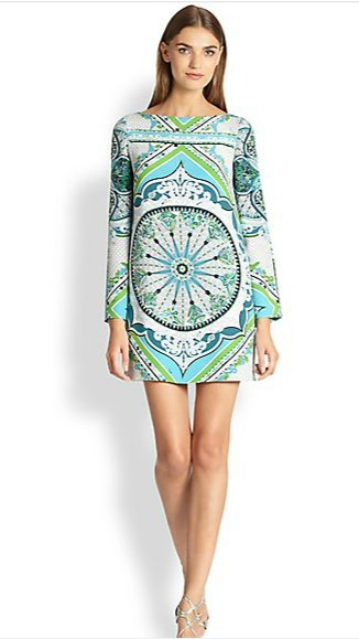 New 2014 Italian Luxury Brands Women's Long Sleeves Baroque Print Green Slash Collar Stretch Jersey Silk Plus Size XXL Dress(China (Mainland))