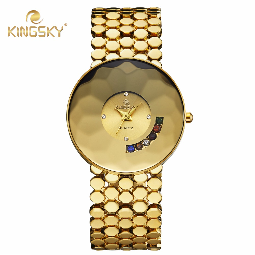 2016 New Fashion Reloj Mujer full gold Stainless Steel Quartz Wrist Watch luxury brand rhinstone fashion women wristwatches(China (Mainland))
