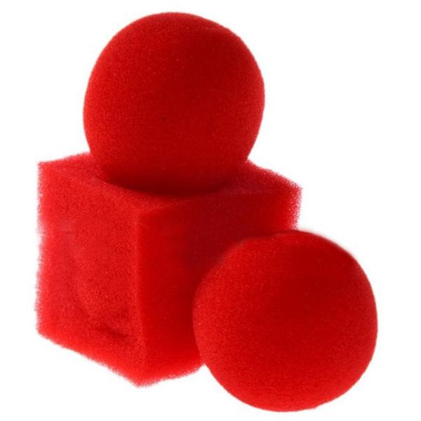 2 pcs Circular Sponge Ball 1pc Square Sponge Ball Square Sponges Tricks Magic Ball To Set Red Magic Tricks(China (Mainland))